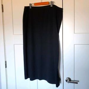 Italian Merino Wool Blend Black Pencil Skirt